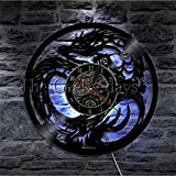 wttian Reloj de Pared de dragón Elegante Tatuaje Tribal Dungeon Master Dragon Mural decoración de habitación para Adolescentes Reloj de Registro de Vinilo Animal-with_Led