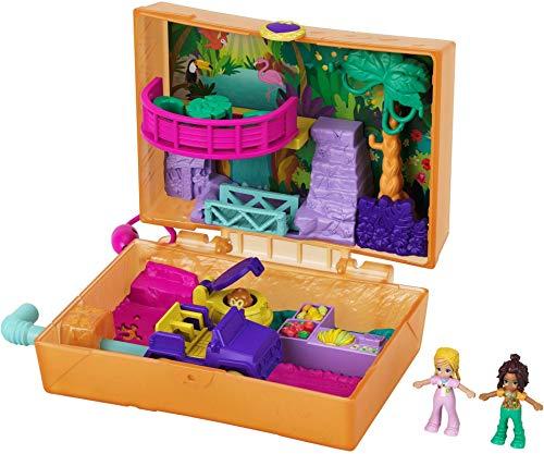 Polly Pocket- Cofanetto Merenda nella Giungla con Micro Bambole Polly e Shani, 2 Bradipi e Accessori Giocattolo per Bambini 4+Anni, GKJ53