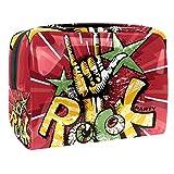 Bolsa de maquillaje portátil con cremallera, bolsa de aseo de viaje para mujeres, práctica bolsa de almacenamiento cosmético, estrellas musicales de rock divertido