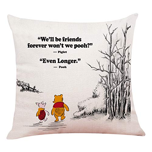 """chillake Funny Classic Winnie The Pooh Quotes Pillow Covers - Pooh Pillow Case Cushion Cover for Sofa Couch Living RoomHome Decor 18""""x 18""""Inch"""