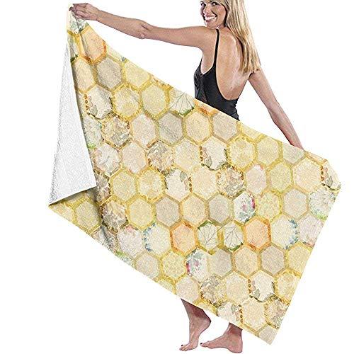 Niet van toepassing Honingraat Bijenkorf Vintage Bloemen Bijen Sneldrogende Strand Handdoek Reizen Deken Zwemmen Spa Handdoek Grote Maat