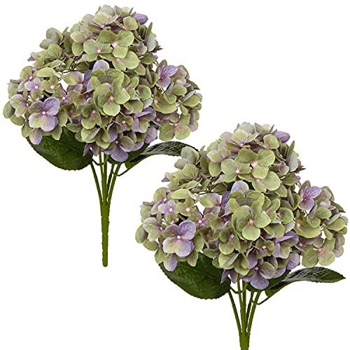 Briful Flores artificiales hortensias falsas hortensias flores 3D seda japonesas hortensias flores para boda, hogar, hotel, arreglo floral decoración 2 piezas