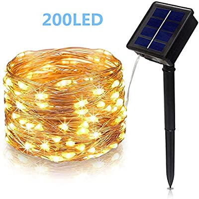 YOZATIA Solar String Lights Outdoor 66Ft 200LED Solar Powered String Lights with 8 Lighting Modes, Waterproof Warm White Color, Copper Wire Fairy Lights