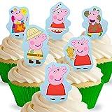Toppershack 12 x Vorgeschnittene und Essbare Aufrecht Stehende Peppa Pig Peppa Kuchen Topper (Tortenaufleger, Bedruckte Oblaten, Oblatenaufleger) -