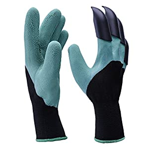 Garden Genie Gloves,Smartdoo Men's & Women's Work Glove with ABS Plastic Claws on Right Hand for Digging and Planting