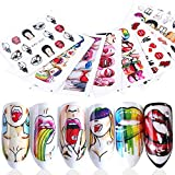 Nail Art Stickers Water Transfer Nail Decals Nail Art Accessories Sexy Lips Cool Girls Funny Mouth Rose Pop Nails Sticker Nail Art Design DIY Manicure Accessory for Women Girls (9 Sheets)