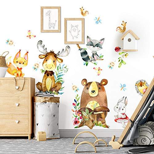 kina UVB00601 Adesivi Murali Decorazione Muro Cameretta Bambino Asilo Nido Camera Letto Renna Orso Procione Riccio Coniglio