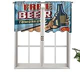 Hiiiman Cortinas térmicas aisladas con cenefa, biberón con texto en inglés 'Free Beer Beverage Pub', juego de 2, 42 x 36 pulgadas para decoración de salón comedor