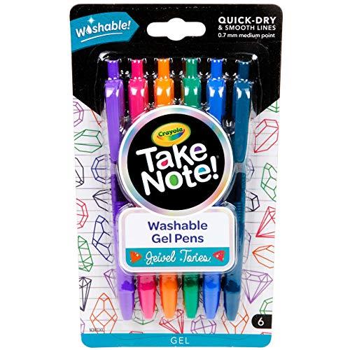 Crayola Washable Gel Pens in Jewel Tones, Office & School Supplies, 1.0Mm Medium Pt., 6 Count