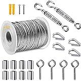 Cable De Acero Kit SuspensióN De Cuerda, Kit de Abrazaderas para Cables de Acero, Kit de Luces para Exteriores,con Tensor y Ganchos y abrazadera de cuerda y aluminiomango de joroba (25 m)