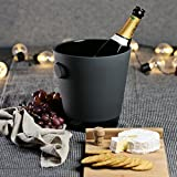 "Magisso 70606 Naturally Cooling Ceramic Champagne Bucket, 6"" w x 5"" d x 10"" h, Black"