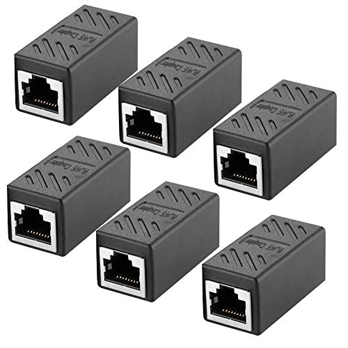 6Pack Adaptador RJ45 para Cable de Red Ethernet Cat5/CAT6 LAN RJ45 Acoplador Gigabit Hembra an Hembra (Negro)
