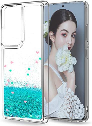 LeYi Funda Samsung Galaxy S21 Ultra 5G Silicona Purpurina Carcasa con HD Protector de Pantalla, Transparente Cristal Bumper Telefono Gel TPU Fundas Case Cover para Movil S21 Ultra 5G ZX Verde