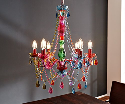 DELIFE Kronleuchter Gypsy Starlight-Multi-Rainbow Bunt 55 cm Hängeleuchte