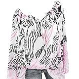 JURTEE Damen Herbst Oberteile,Neu V-Ausschnitt Aus der Schulter Bandage Leopard Drucken Große Größen Einfach Tops Bluse T Shirt Räumungsverkauf XS-5XL