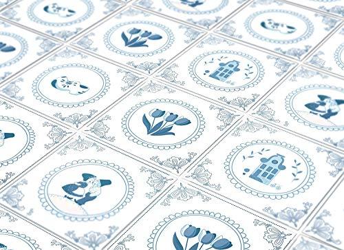 Delft Fliesenaufkleber Blaue Niederländische Wanddeko Ideen (Packung mit 24) - 10 x 10 cm