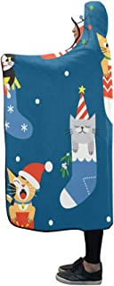 CYDBQ 膝掛け 猫 靴下 フード付き毛布 肩掛け 着る毛布 ブランケット 帽子付きマント 部屋着 ルームウェア フランネル 可愛い 柔らかい レディース 大きい