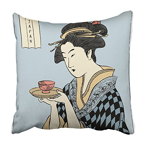 Emvency Decorative Throw Pillow Covers Cases Green Geisha Woman in Kimono Holding Cup of Tea Japanese Traditional Style Pink Drawing Painting 20X20 Inches Pillowcases Case Cover Cushion Two Sided