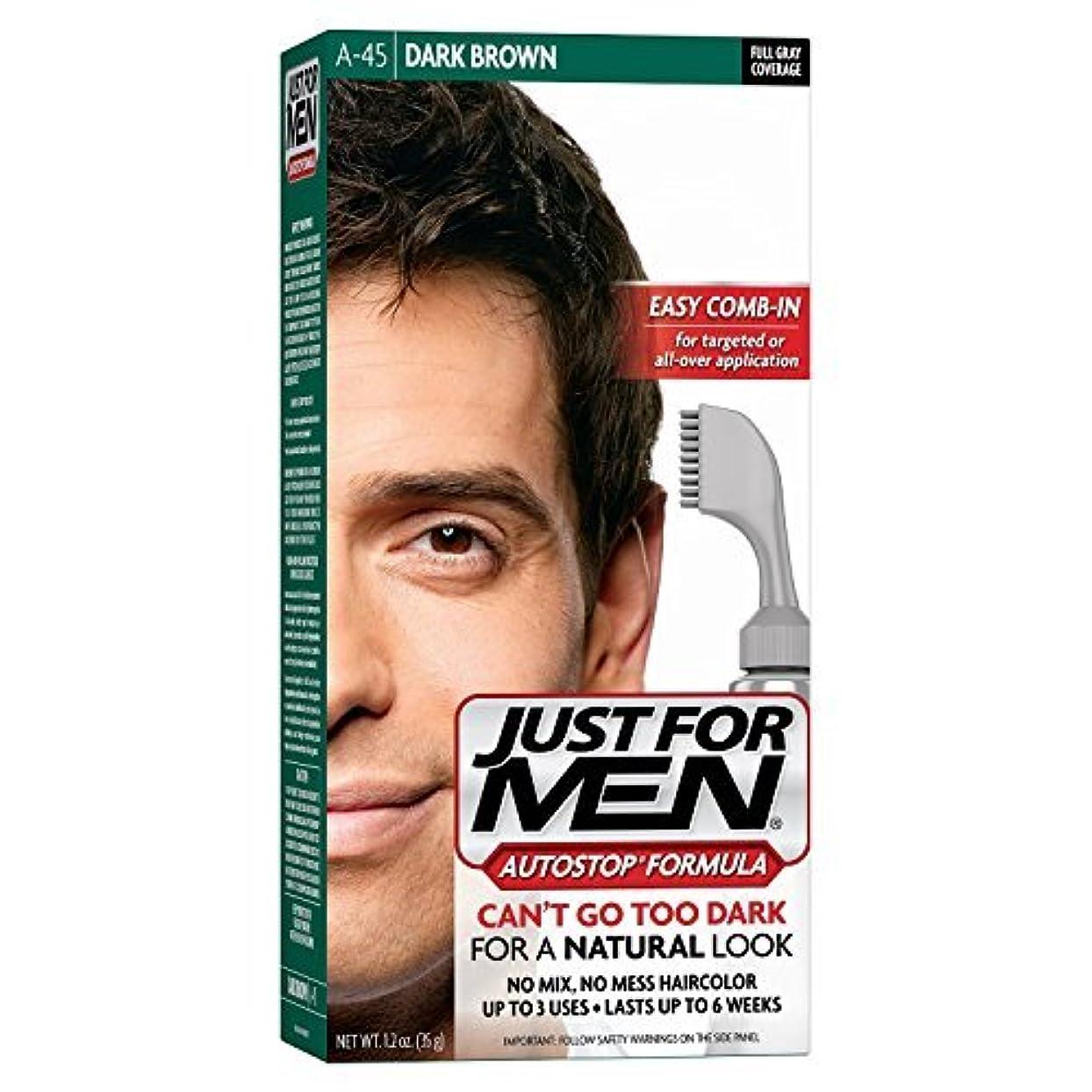キロメートル頭浴室Just for Men -45ダークブラウンAUTOSTOP 1.2オンス 3パック