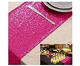 ShinyBeauty Camino de mesa de lentejuelas rosa fuerte camino de mesa para boda, camino de mesa de boda de 30,5 x 182,8 cm, color fucsia