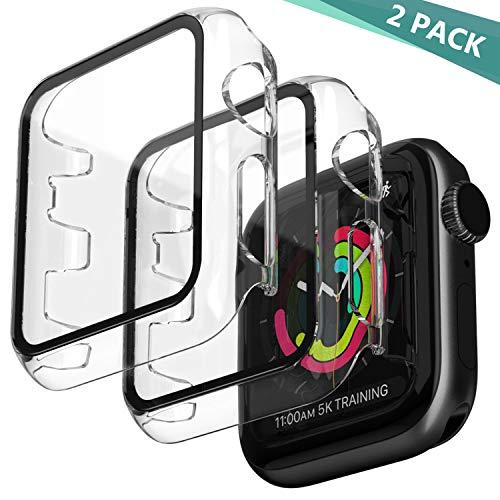Jvchengxi 2PCS Cover Compatibile per Apple Watch 42mm Series 3/2/1 Pellicola Protettiva, HD Custodia Rigida con Vetro Temperato Antiurto PC Caso Schermo Sottile per iWatch Series 3/2/1 - Chiaro