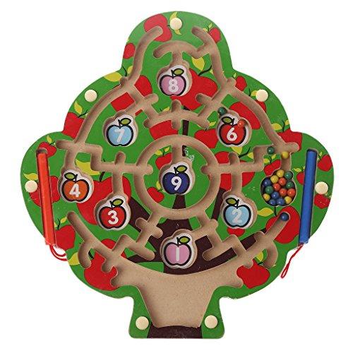 RK-HYTQWR Apfelbaum Holz Magnetschreiber Labyrinth Spiel Labyrinth Kinder Lernen Bildung Spielzeug, Magnetkugelschreiber Labyrinth
