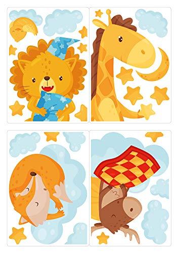 dekodino® Fenstersticker Kinderzimmer Löwe Giraffe Fuchs Elch Sterne