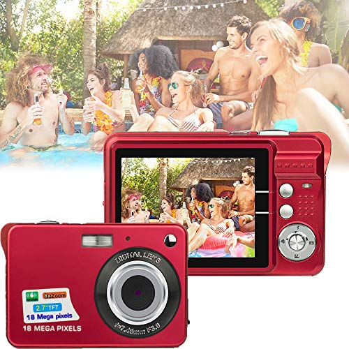 HD Mini Digital Cameras,Point and Shoot Digital Cameras for Kids Teenagers-Travel,Camping,Gifts (Red)