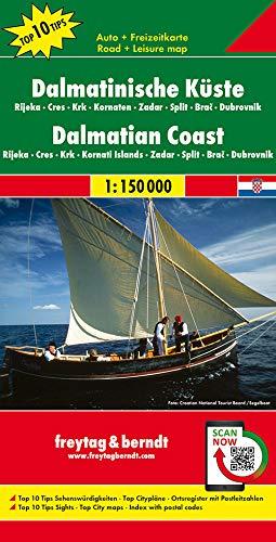 Dalmatinische Küste, Rijeka-Cres-Krk-Kornaten-Zadar-Split-Brac-Dubrovnik. Autokarte. 1 : 150 000.