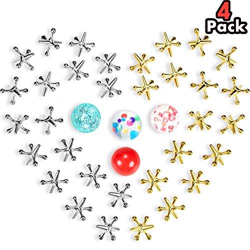 4 Sets Jacks Spiel Spielzeug Kit, Einschließen 40 Stücke Metall Jacks und 4 Stücke Gummi Prallen Bälle für Kinder und Erwachsene