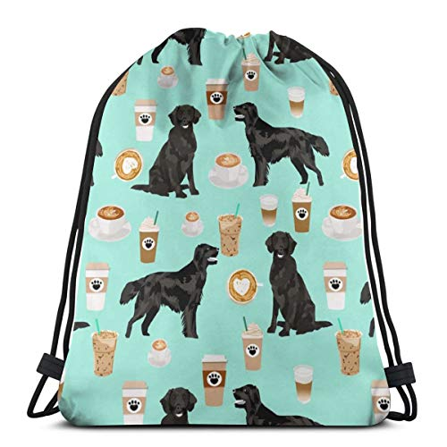 Flat Coated Retriever Coffee Pattern - Dog, Dogs, Cute Dog, Flat Coated Retriever Dog - Mint_3404 3D Print Drawstring Backpack Rucksack Shoulder Bags Gym Bag for Adult 16.9'x14'