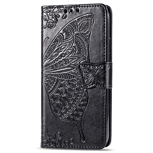 Samsung Galaxy A02 M02 Case, Shockproof PU Leather Flip Cover Butterfly Notebook Wallet Case With Magnetic Closure Stand Card Holder ID Slot Folio Soft TPU Bumper Protective for Samsung Galaxy A02