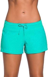LACOFIA Pantaloncini da Bagno da Donna Shorts da Spiaggia Regolabili con Coulisse Costume da Bagno Estivo rapido e Asciutto da Donna