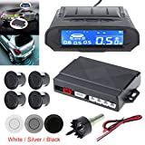 Universal Full Digital Distance LCD Display Car Monitor Parking Sensor Kit Auto Radar Detector 4 Sensors Alarm Indicator Reverse Backup Radar System (White)