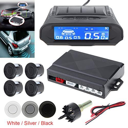 Kit de sensor de aparcamiento y detector de radar para coche con 4 sensores, indicador de alarma, sistema de radar de respaldo inverso, universal, con 4 sensores
