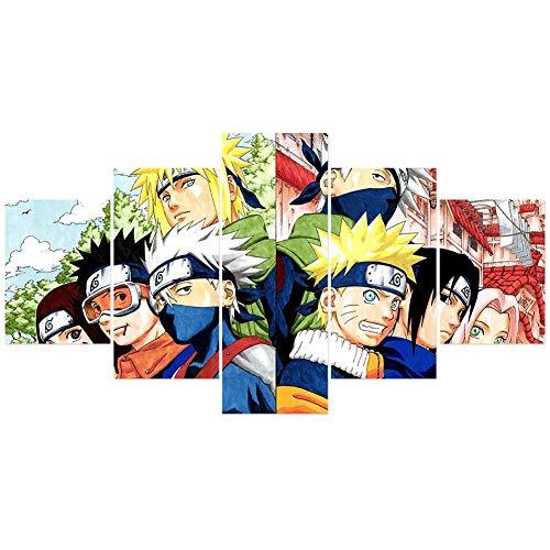ALTcompluser Anime Bild Leinwand - Naruto Sasuke Wandbild - 5 Teilig - Zimmer Deko Wand Wohnzimmer Wohnung - Kein Rahmen(M Motiv 2)