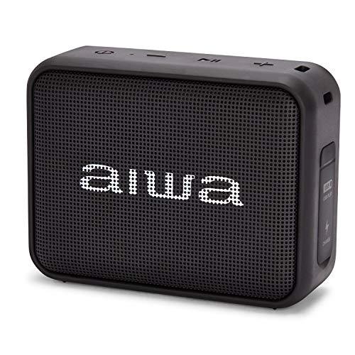 Aiwa BS-200BK Tragbarer kabelloser Bluetooth-Lautsprecher, True Wireless Stereo, wasserdicht, Schwarz