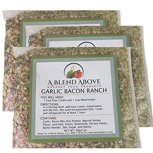 A Blend Above Garlic Bacon Ranch Dip Mix, Seasonings Packet (3 Pack)