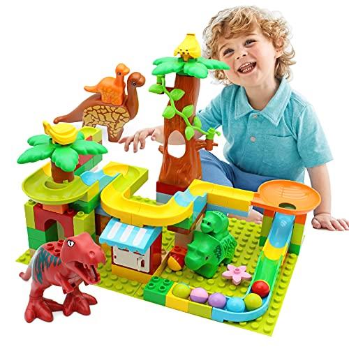 CATTA Dinosaur Blocks Marble Run, Classic Big Building Blocks Set STEM Learning Education Toys for Toddler Boys Girls…