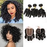 BLISSHAIR Brazilian Hair Funmi Curly capelli spirale Human Hair 3 Bundles and Closure Corta Loose Curly Weave Virgin Veri Capelli Umani Brasiliani estensioni (141414+10)