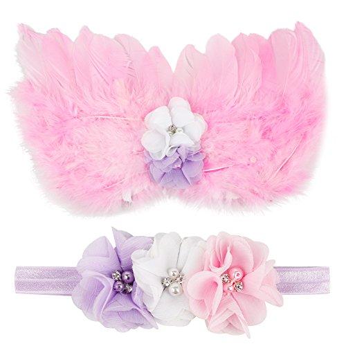CHIC Bébé Déguisement Costume Prop Photographie Bandeau Cheveux Fleur Aile Ange Princesse 0-6M (Violet)