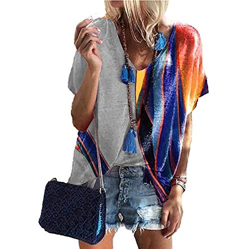 Mayntop Camiseta de verano para mujer con estampado de bloques de color, suelta, manga corta, mangas murciélago, cuello en V, blusa étnica, A-gris., 50