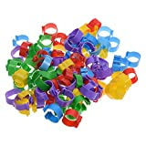 BCP 100pcs 5 Color Poultry Leg Bands Bird Chicks Ducks Chicken Clip-on Rings Size 7 (5/8inch)