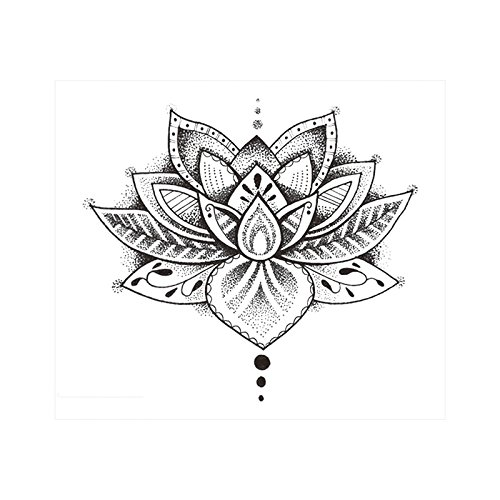 SanerLian Waterproof Temporary Fake Tattoo Stickers Vintage Elegant Grey Flowers Set of 2