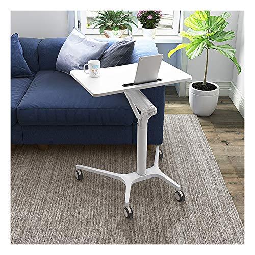 RKRLJX Mesita de noche ajustable con ruedas, altura ajustable, para escritorio, para dormitorio, sala de estar, conferencias (color: blanco)
