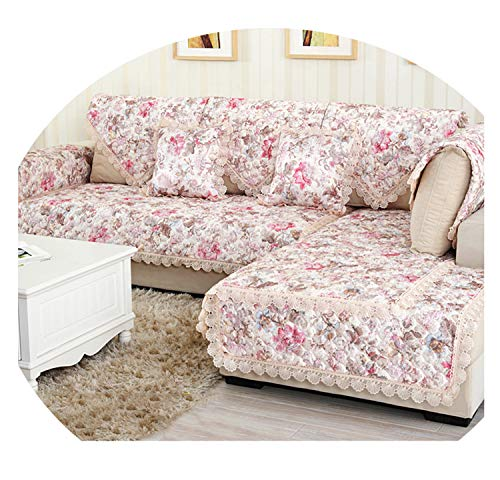 Flower Pattern Sofa Cover Towel Slipcover Plush Fabric Thick Sofa Modern Non-Slip Sofa Couch Cover Corner Towel Mats 1PCS 08 90x160cm