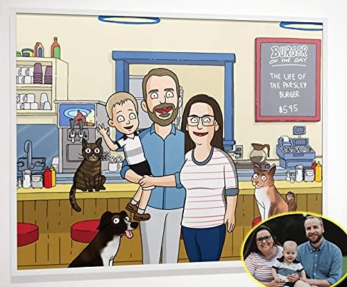 Bobs Burgers Poster - Custom Family Portrait Wall Art Poster...
