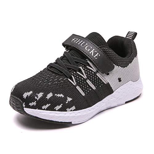 FIHUGKE Kinder Schuhe Sportschuhe Ultraleicht Atmungsaktiv Turnschuhe Klettverschluss Low-Top Sneakers Laufen Schuhe Laufschuhe für Mädchen Jungen, Schwarz, 32 EU