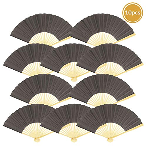 """Quasimoon 9"""" Gray / Grey Silk Hand Fans for Weddings (10 Pack) by PaperLanternStore"""