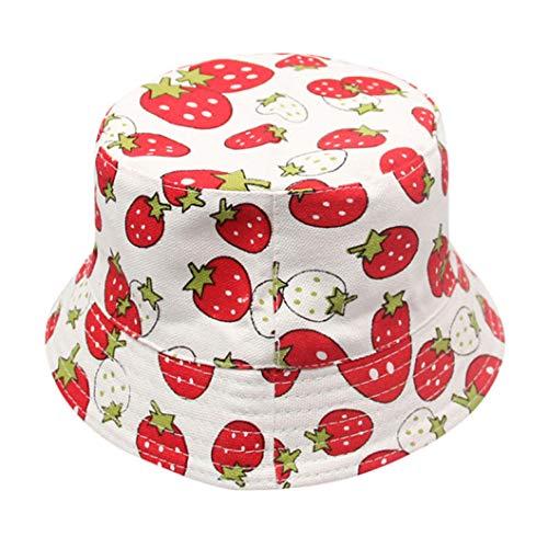 AROVON Eimer Hüte Kinder Jungen Mädchen Erdbeer Druck Hut Sommer Sonnenschutz Eimer Hüte für Kinder